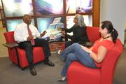Rueben Stokes, Ryder System's group director of diversity and inclusion, meets with Julie Ramdial and Aniette Lauredo.