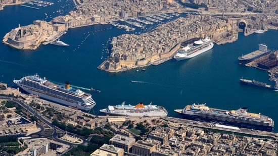 An aerial view of cruise liners docked at the Valletta Cruise Port in Malta.