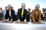 Jean Francois Roy of Ocean Land Investments, Donald Trump and Jorge Perez of The Related Group attended the groundbreaking for the Trump Hollywood condominium.