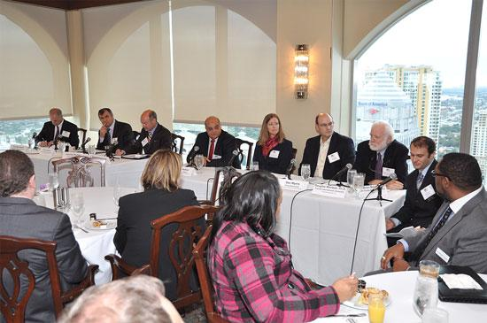 Panelists Douglas Sáenz, Leonidas Bachas, J. David Armstrong Jr., Shihab Asfour, Becky Mercer, Dan Myers and Douglas Wartzok spoke about STEM education at the Tower Club in Fort Lauderdale last month.