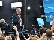 MSNBC's Chris Matthews greets fans at the debate.