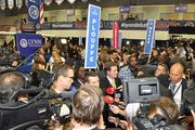 Spin Alley at Lynn University, where the media gathered after the Oct. 22 presidential debate.