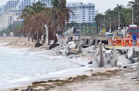 A sidewalk collapsed along this South Florida beach.