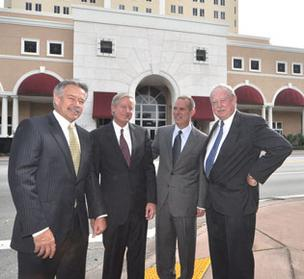 Flagler executives Keith O'Donnell, Stephen Pike Rowley, Jose Hevia and Jack Lowell in 2009, when Flagler absorbed Rowley Group, at the future headquarters of Bacardi Group.