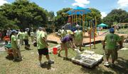 Bags of concrete were used to cement in structures at the Humana multigenerational playground in Lauderhill.