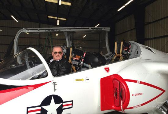 ICare's Jim Riley, who was a pilot for the California Air National Guard, owns a fighter jet – minus the missiles.