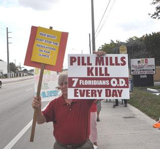 Jerry Buechler attended a protest at the Pain Relief Centers of South Florida.