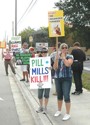 Protesters fighting pill mills