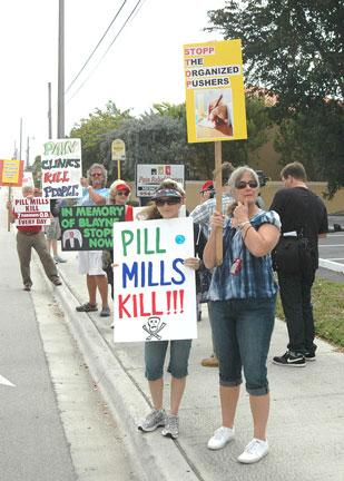 Protesters fighting pill mills were shown in a 2011 Business Journal article that documented the scope of the problem.