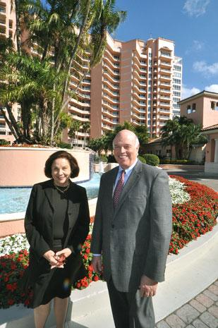 EWM's Audrey Ross and Ron Shuffield at The Gables Club, home to a $9 million condo unit.