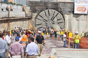 PortMiami's tunnel-boring machine, nicknamed Harriet, was the star of the show July 31 as it completed the first of two tunnel tubes.