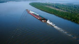 A Mississippi River barge