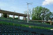 The new fans at The Muny will continue to run during the show.