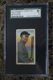 A 1911 baseball card of Ty Cobb.