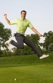 Krilogy Financial Founder Kent Skornia gets loose on the greens at Algonquin Country Club.