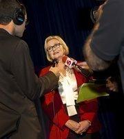 Sen. Claire McCaskill at the U.S. Senate debateon Oct. 18 in the Clayton High School auditorium.