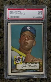 A 1952 baseball card of Micky Mantle.