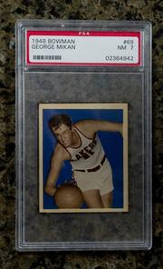 A 1948 basketball card of George Mikan.
