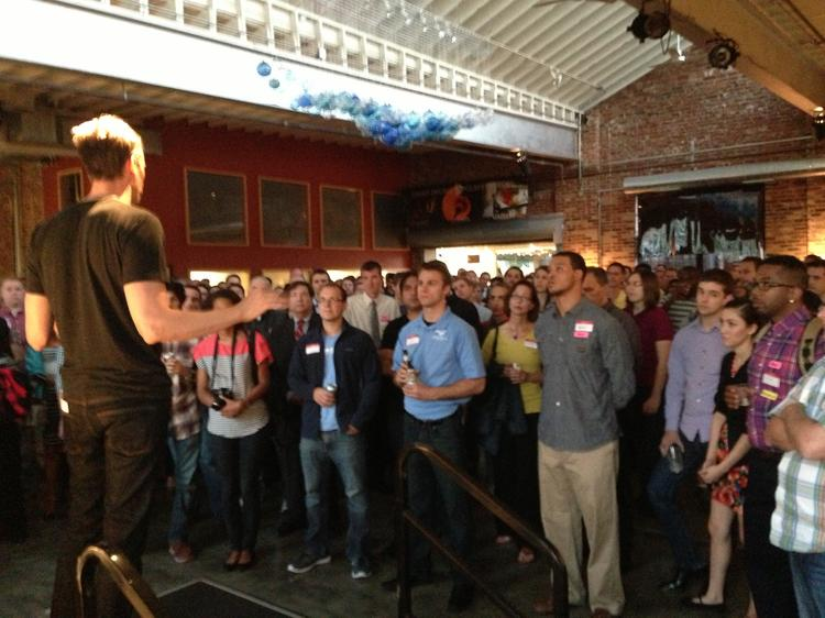 Jim McKelvey speaks in front of a crowd at LaunchCode's launch event Monday evening.