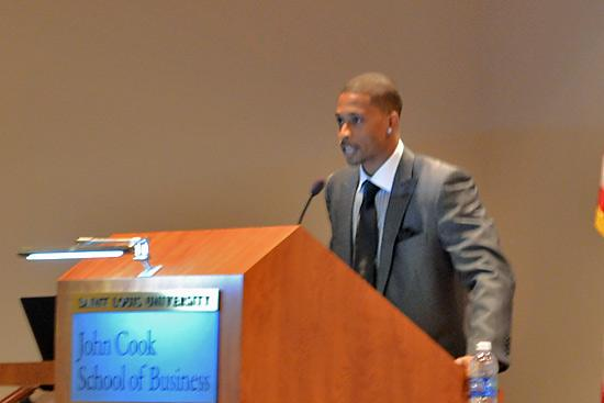 Brandon Williams addressing Venture Draft conference attendees on Friday.