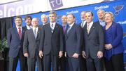 Some members of the new Blues ownership group, from left to right: John Ross, Chris Danforth, Jim Johnson, Jack Danforth, Tom Stillman, Jim Cooper, National Hockey League Commissioner Gary Bettman, Scott McCuaig, Donn Lux, Steve Maritz and Jo Ann Taylor Kindle.
