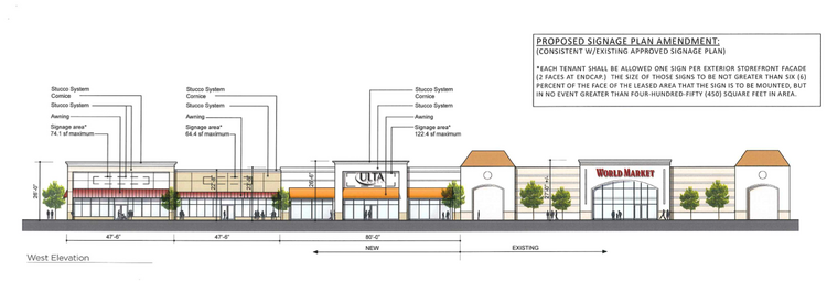 A rendering of the Brentwood Promenade, where 20,000 square feet will be added, to the left of World Market.