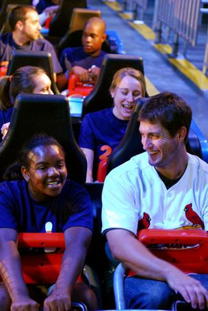 David Freese rides Mr. Freeze Reverse Blast