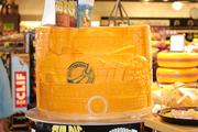 A cheese sculpture in displayed among the store's giant selection of cheese.