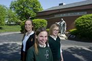 The Dulle family is committed to private school education: From left -- Colleen is a junior at Visitation Academy, Catherine  is a sixth grader at  Academy of the Sacred Heart, and Claire, currently an  8th grader at Sacred Heart, is headed to Visitation this fall. Visitation, like most private secondary schools here, is raising its tuition. Next year tuition will jump 5.99 percent to $16,720.