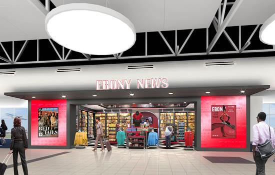 Hudson Group's first batch of new stores is now open at Lambert-St. Louis International Airport. Ebony News, shown in a rendering above, is still in the works.