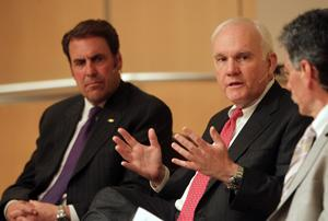 Mark Reuss, left, president of General Motors North America, and Andrew Taylor, right, Chairman CEO of Enterprise Holdings, discuss sustainability at a forum June 4 at the Danforth Center in Creve Coeur.