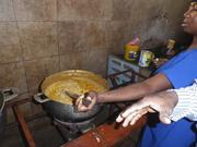 Haitians cook with the fiber-rich soy pulp produced by the SoyCow.