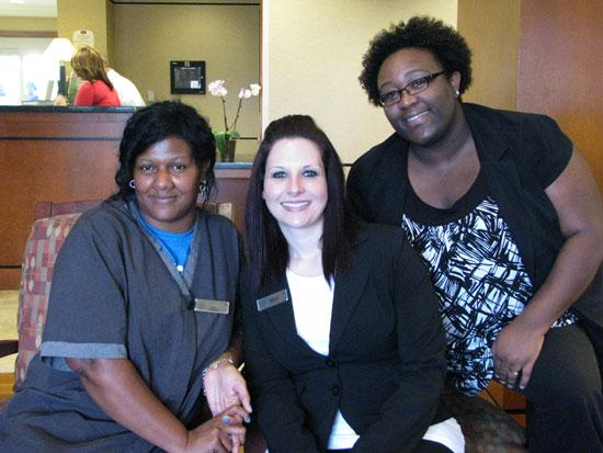 (From left to right) Aretha Hudson, Stephanie Stoliar and Niketta Dailey of the Residence Inn