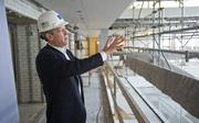 Central Library Executive Director Waller McGuire checks out some of the new construction that is part of the extensive restoration and renovation project.