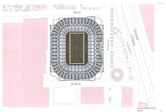 View a collection of renderings of what the Edward Jones Dome would like.