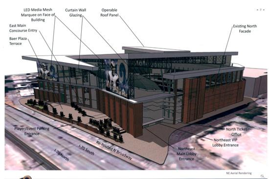 A rendering of the Rams' proposed changes to the Edward Jones Dome.