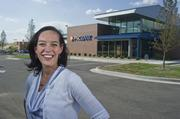 """Angela Ridgway is project manager at Contegra Construction, which is building PNC's """"green"""" branch in Fairview Heights."""