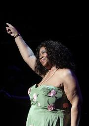 Aretha Franklin sings at the Peabody Opera House reopening Saturday night.