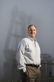 Mark Schnoebelen, vice president of Massmann Construction Co., on site at the Mississippi River Bridge project.