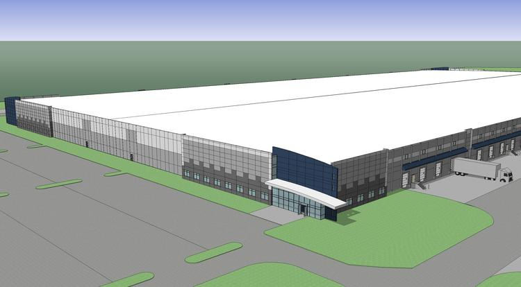 A rendering of a new $20 million, 540,000-square-foot facility in the Gateway Commerce Center near Edwardsville, Ill.
