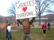 Some people brought a bit of humor with them to the protest. Like this man, who decided to dress in a Wookie costume.