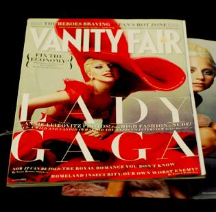 Pop singer Lady Gaga is featured on Vanity Fair's latest cover.