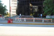 Barricades are set up in anticipation of the OccupySTL protest.