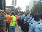 More than 30 police officers were on the scene to control the protesters.