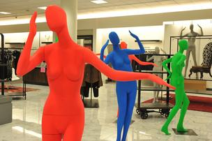 Colorful mannequins wait to be dressed at the new Nordstrom at the Saint Louis Galleria.