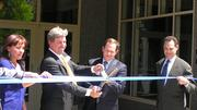 Steve Smith, CEO of The Lawrence Group, and Mayor Francis Slay cut the ribbon at Park Pacific's grand opening Thursday.