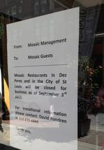 Mosaic restaurant closes in downtown St. Louis and Des Peres