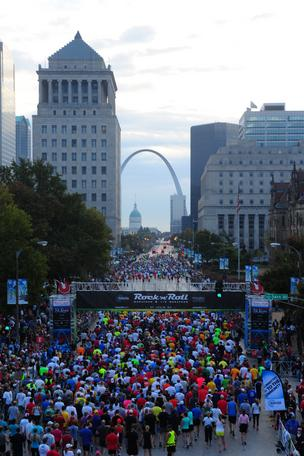 More than 19,000 runners hit Market Street as they run in the Rock 'n' Roll Marathon on Sunday in St. Louis.