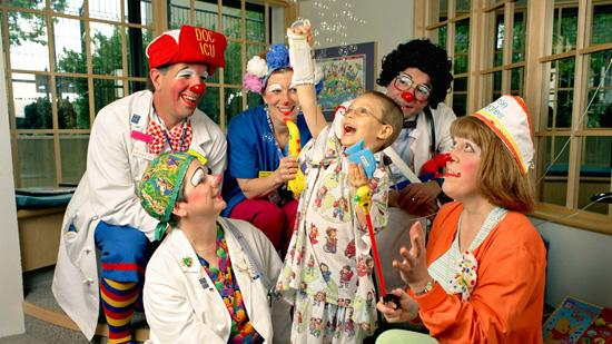 Like the Clown Docs pictured above, social media offers St. Louis Children's Hospital another outlet to connect with patients and families, and incorporate more personality into those interactions.