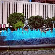 The fountain at Kiener Plaza in St. Louis was colored blue for the playoffs.
